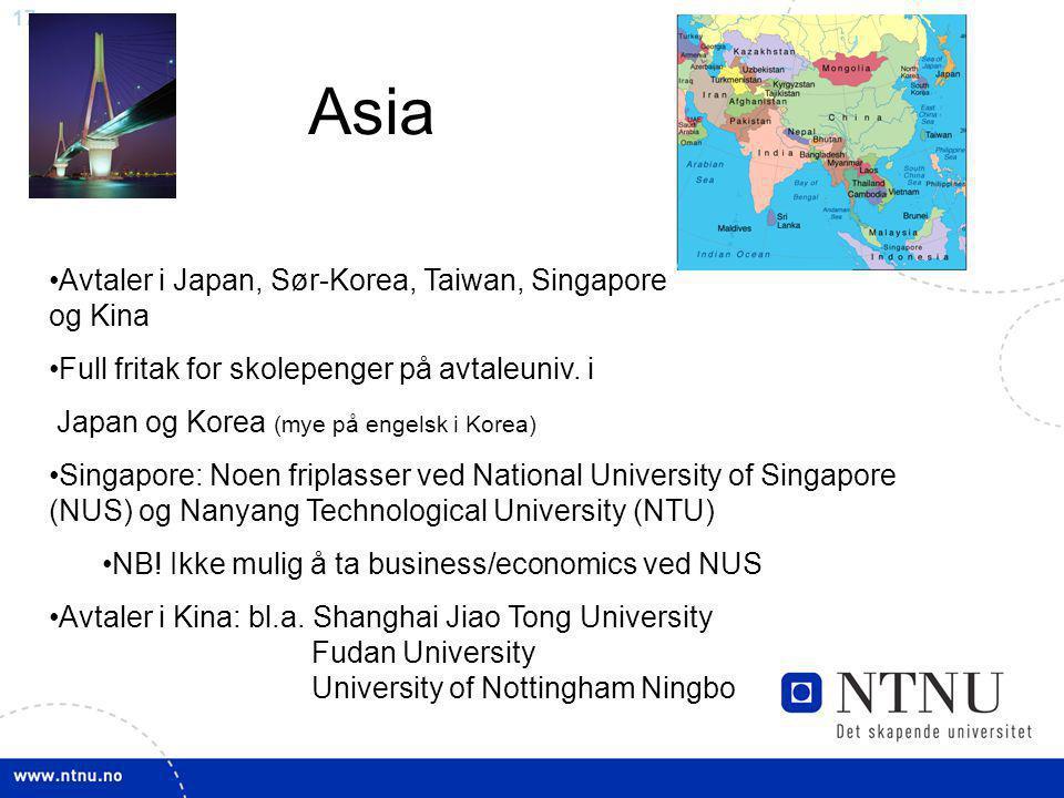Asia Avtaler i Japan, Sør-Korea, Taiwan, Singapore og Kina