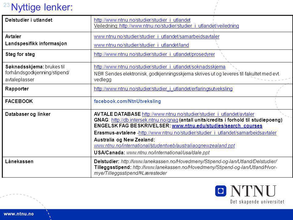 Nyttige lenker: Delstudier i utlandet