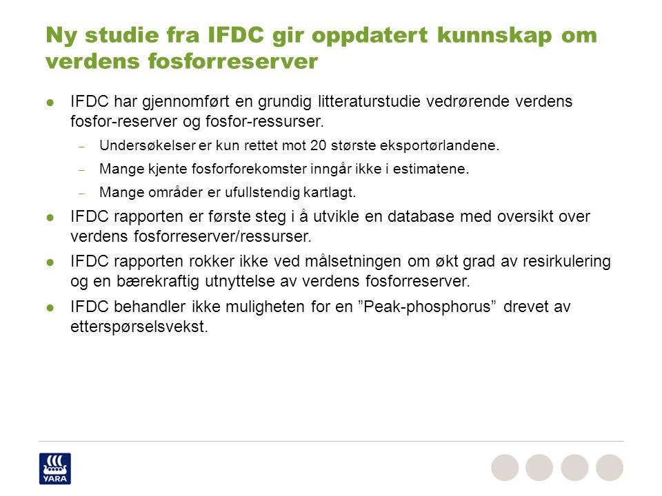 Ny studie fra IFDC gir oppdatert kunnskap om verdens fosforreserver