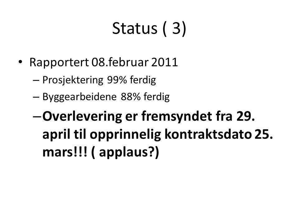 Status ( 3) Rapportert 08.februar 2011. Prosjektering 99% ferdig. Byggearbeidene 88% ferdig.
