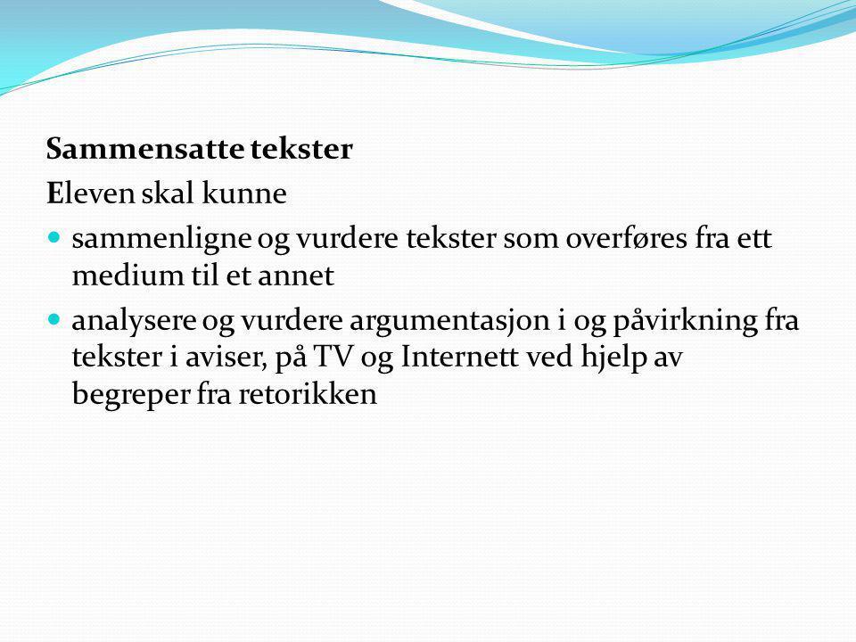 Sammensatte tekster Eleven skal kunne. sammenligne og vurdere tekster som overføres fra ett medium til et annet.