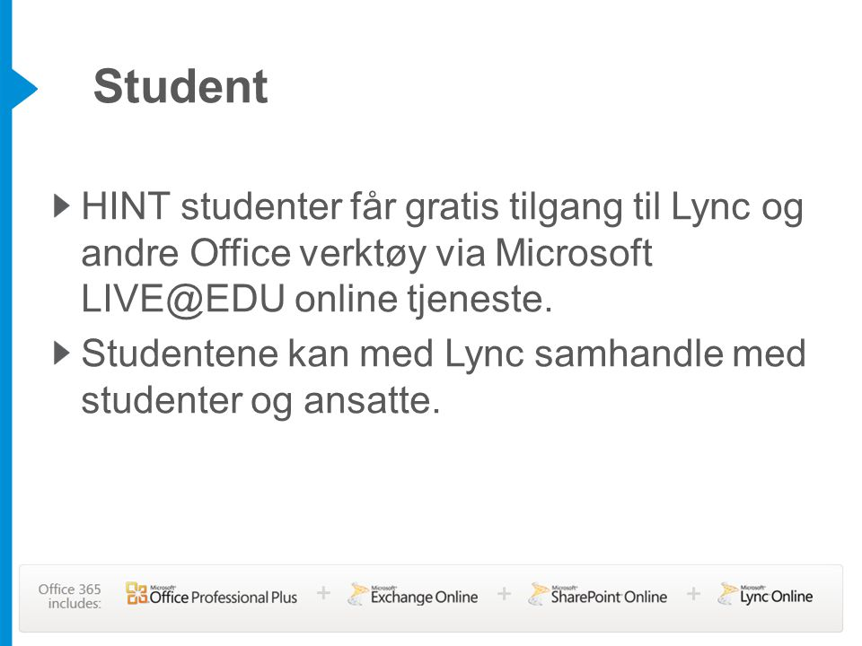 Student HINT studenter får gratis tilgang til Lync og andre Office verktøy via Microsoft LIVE@EDU online tjeneste.
