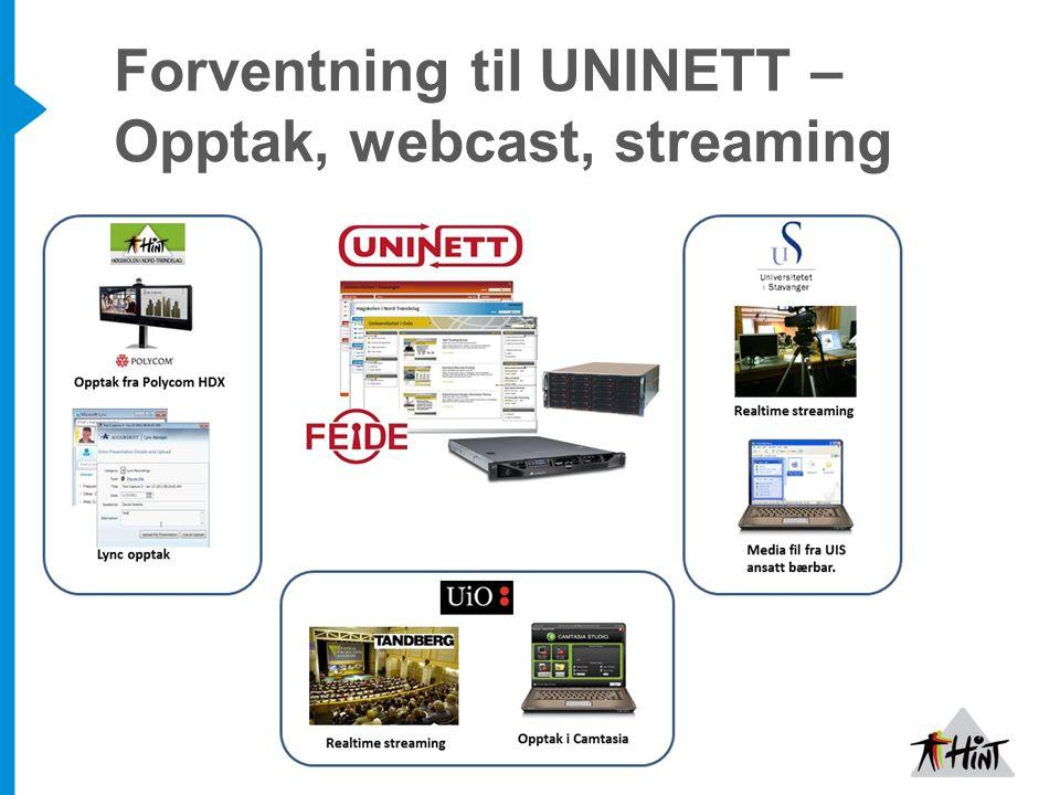 Forventning til UNINETT – Opptak, webcast, streaming