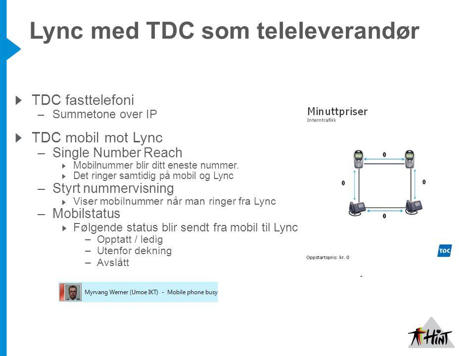 Lync med TDC som teleleverandør