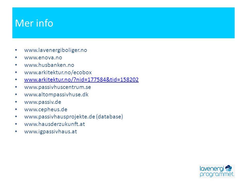 Mer info www.lavenergiboliger.no www.enova.no www.husbanken.no