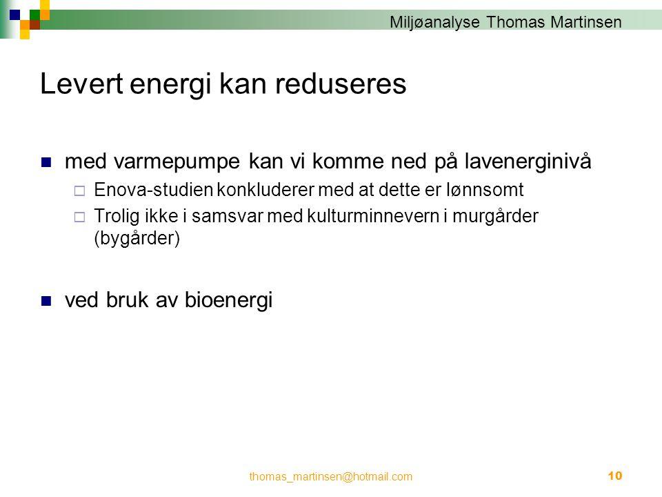 Levert energi kan reduseres