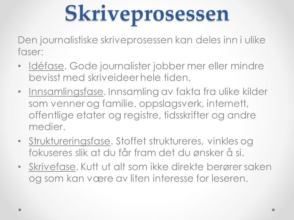 Skriveprosessen Den journalistiske skriveprosessen kan deles inn i ulike faser: