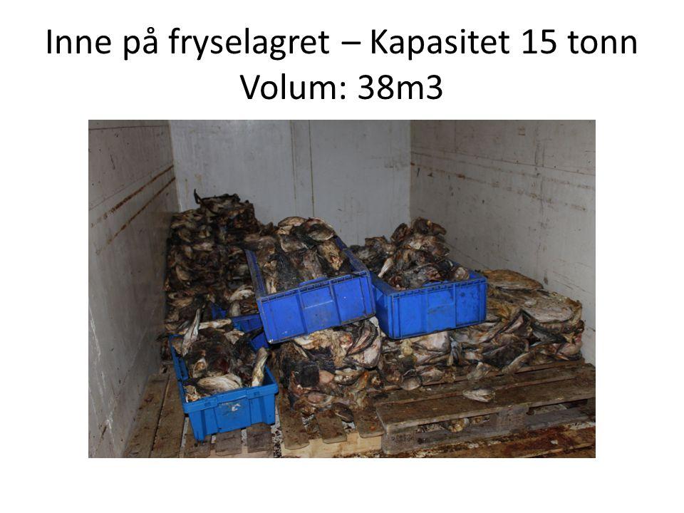 Inne på fryselagret – Kapasitet 15 tonn Volum: 38m3