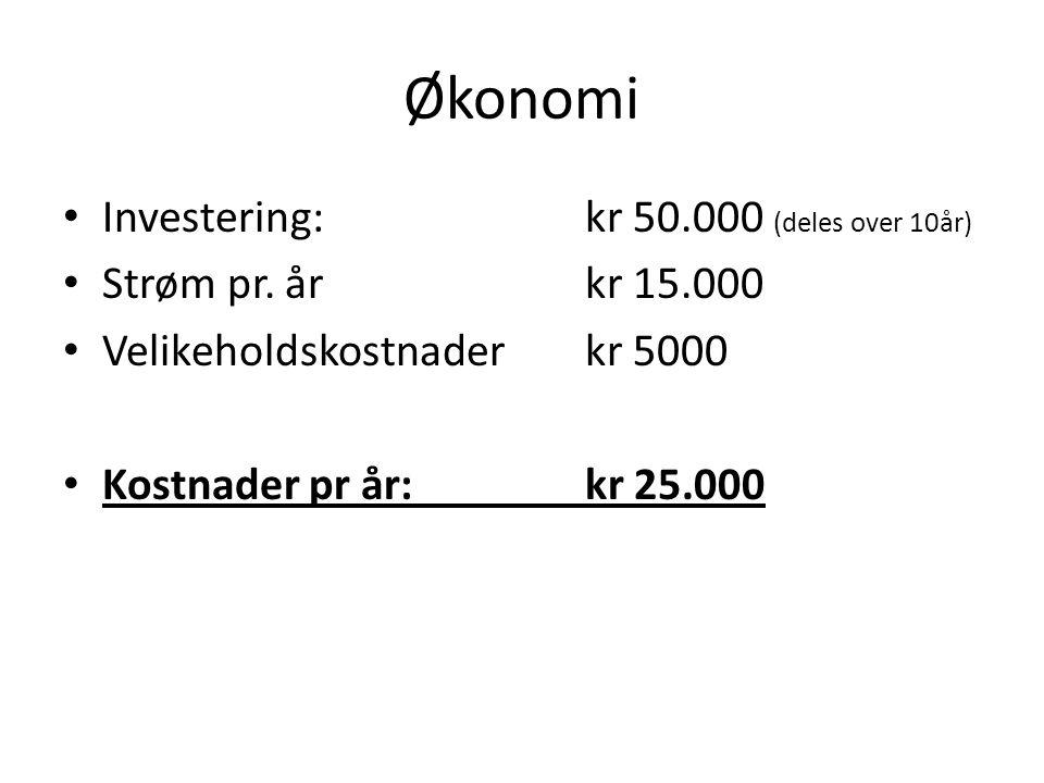 Økonomi Investering: kr 50.000 (deles over 10år)