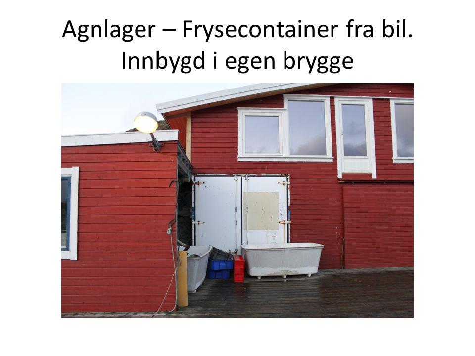 Agnlager – Frysecontainer fra bil. Innbygd i egen brygge