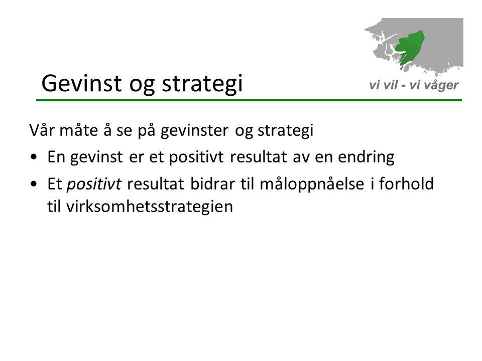 Gevinst og strategi Vår måte å se på gevinster og strategi
