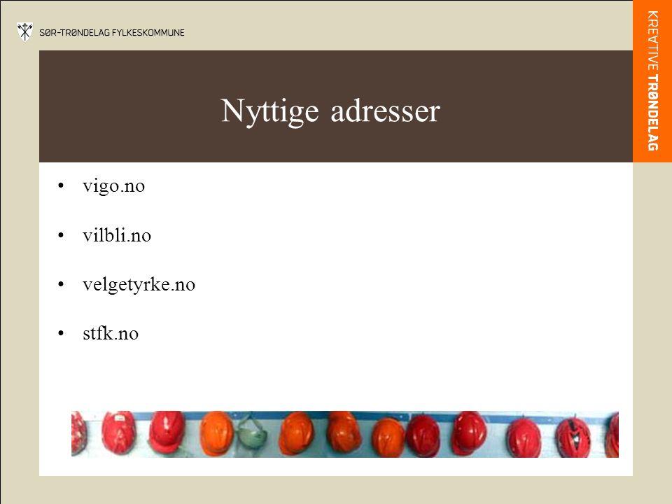 Nyttige adresser vigo.no vilbli.no velgetyrke.no stfk.no