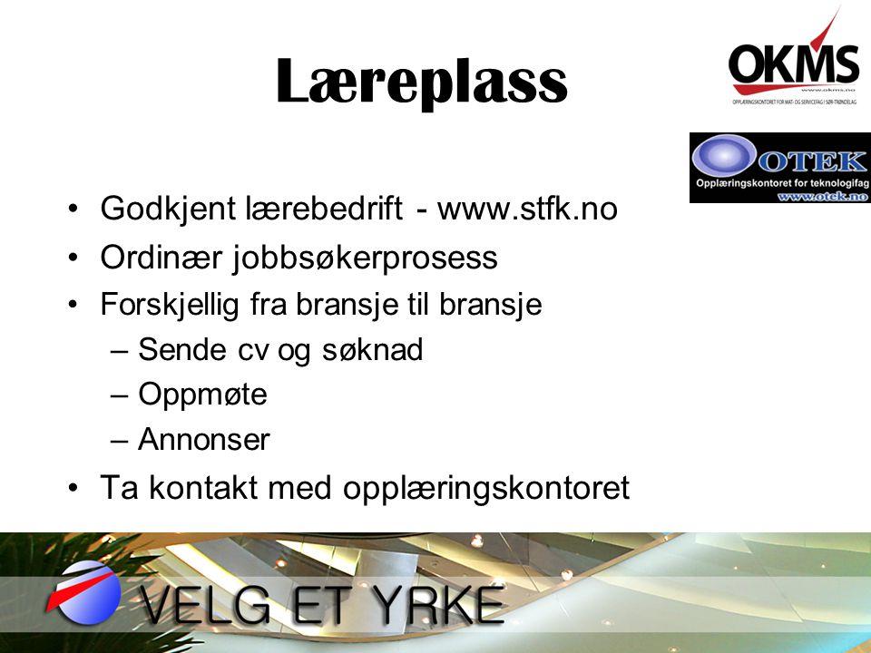 Læreplass Godkjent lærebedrift - www.stfk.no Ordinær jobbsøkerprosess