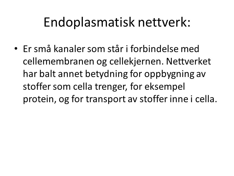 Endoplasmatisk nettverk: