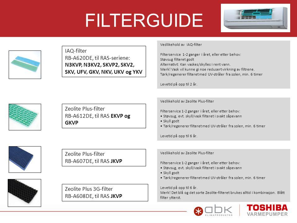 FILTERGUIDE IAQ-filter RB-A620DE, til RAS-seriene: