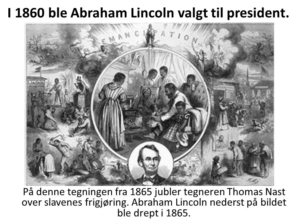 I 1860 ble Abraham Lincoln valgt til president.