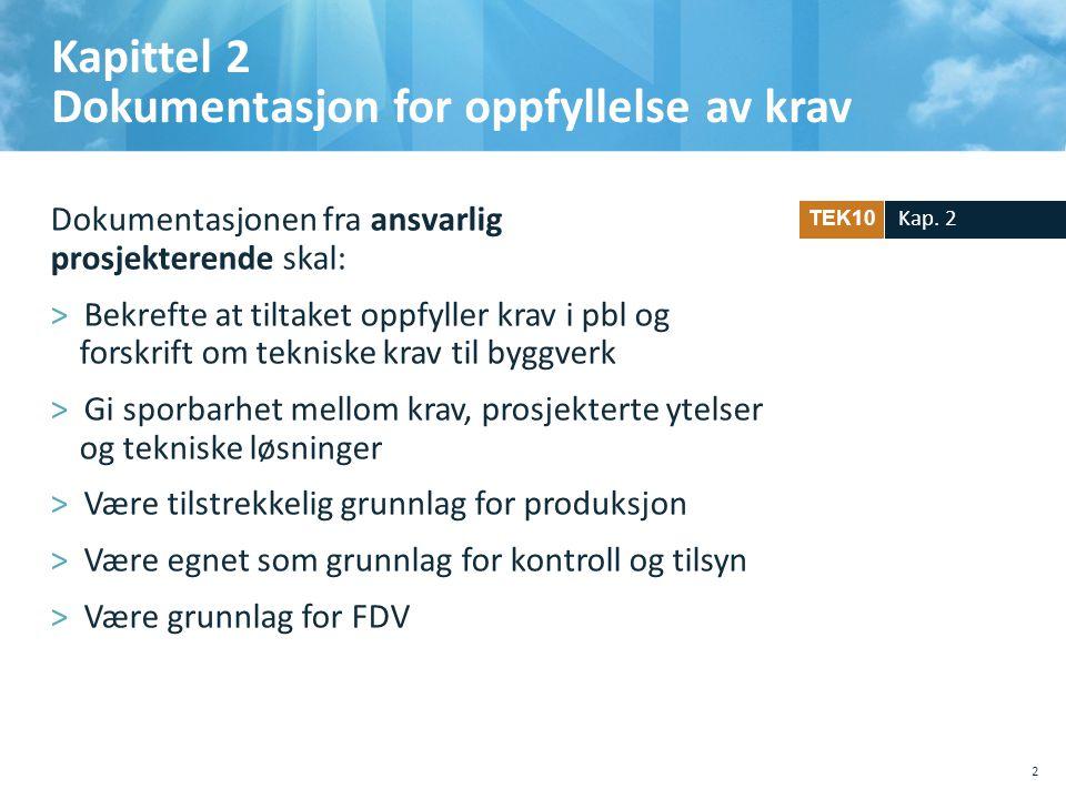 Kapittel 2 Dokumentasjon for oppfyllelse av krav