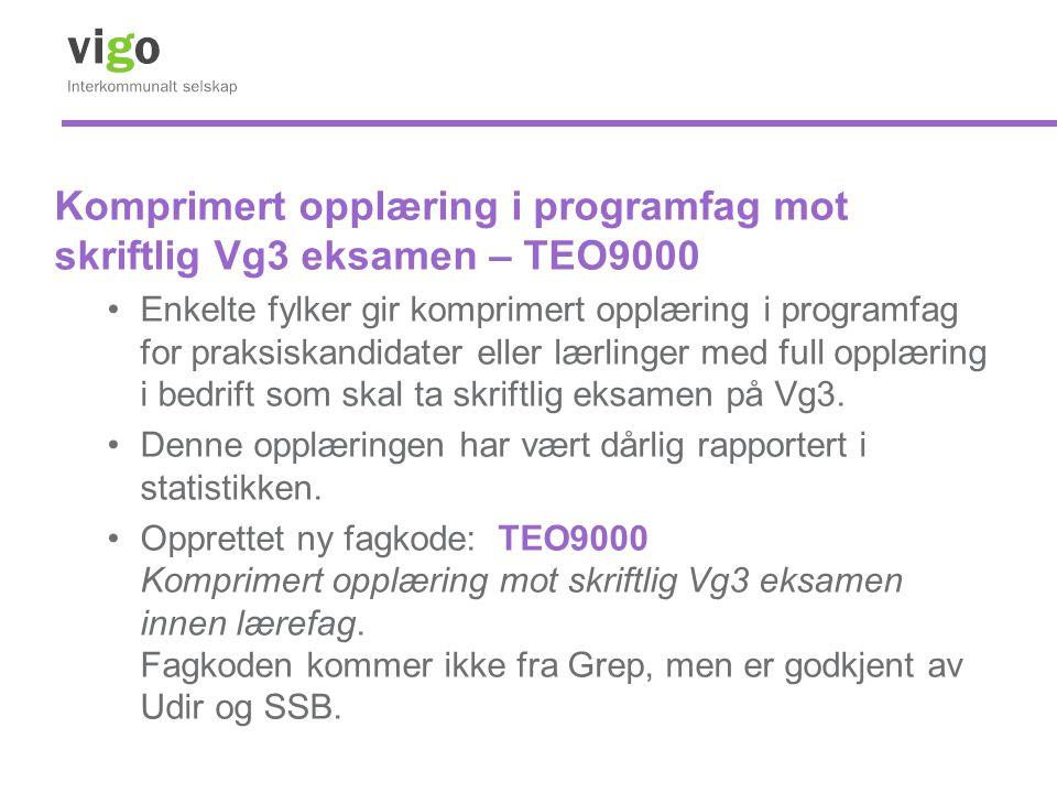 Komprimert opplæring i programfag mot skriftlig Vg3 eksamen – TEO9000