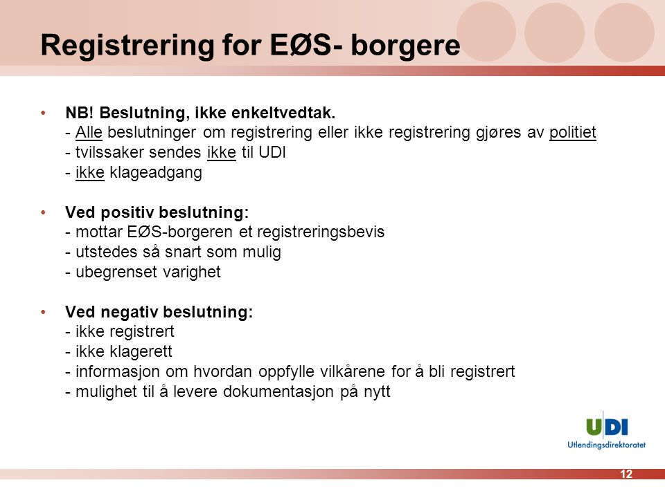 Registrering for EØS- borgere