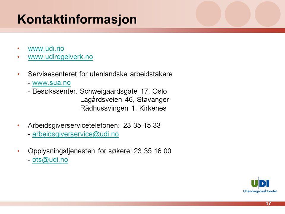 Kontaktinformasjon www.udi.no www.udiregelverk.no