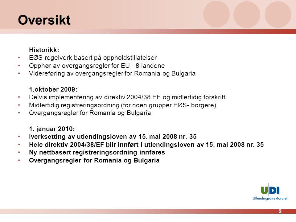 Oversikt Historikk: EØS-regelverk basert på oppholdstillatelser