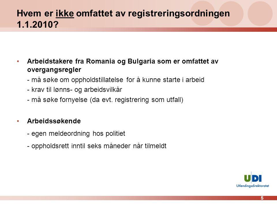 Hvem er ikke omfattet av registreringsordningen 1.1.2010