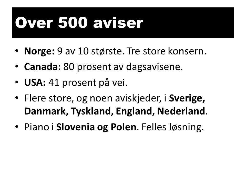 Over 500 aviser Norge: 9 av 10 største. Tre store konsern.