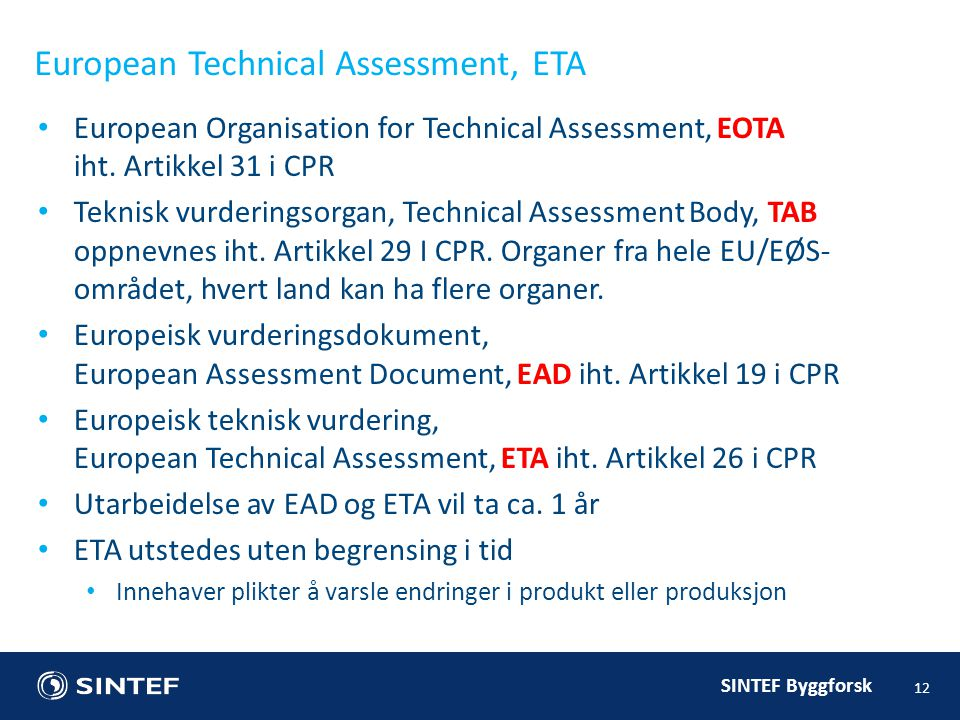 European Technical Assessment, ETA