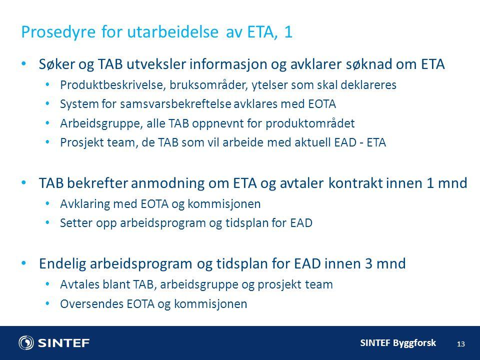 Prosedyre for utarbeidelse av ETA, 1