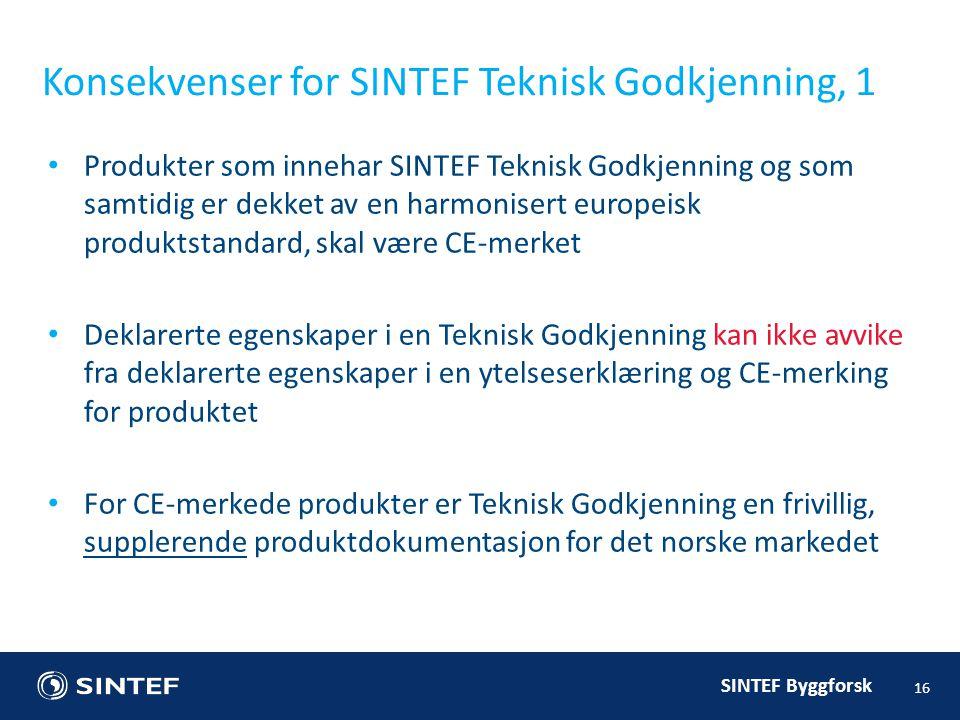 Konsekvenser for SINTEF Teknisk Godkjenning, 1