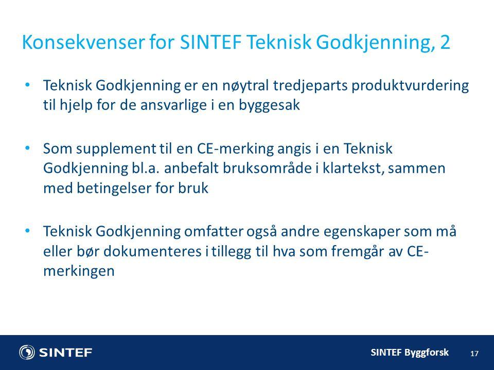 Konsekvenser for SINTEF Teknisk Godkjenning, 2
