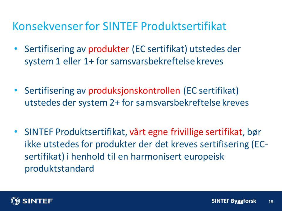 Konsekvenser for SINTEF Produktsertifikat