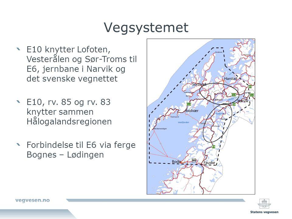 Vegsystemet E10 knytter Lofoten, Vesterålen og Sør-Troms til E6, jernbane i Narvik og det svenske vegnettet.