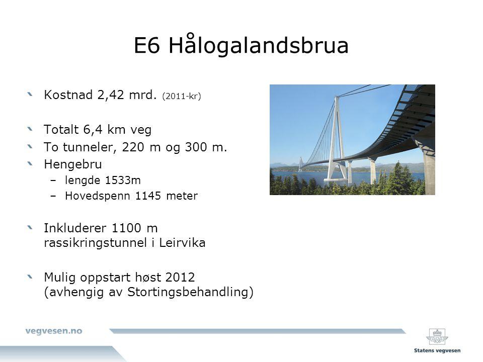 E6 Hålogalandsbrua Kostnad 2,42 mrd. (2011-kr) Totalt 6,4 km veg