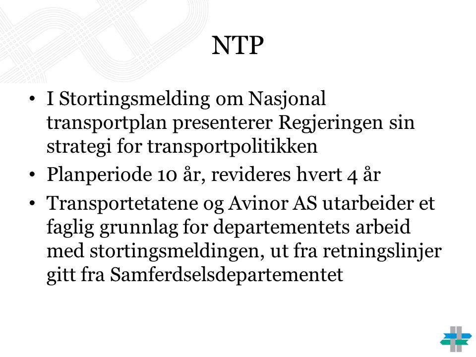 NTP I Stortingsmelding om Nasjonal transportplan presenterer Regjeringen sin strategi for transportpolitikken.