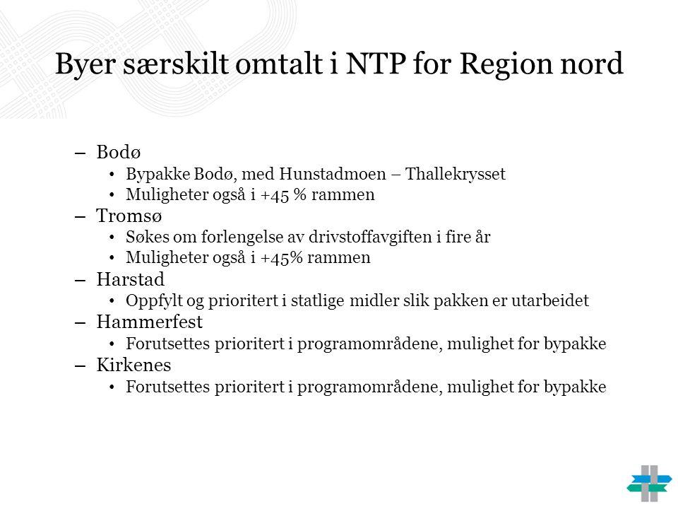 Byer særskilt omtalt i NTP for Region nord