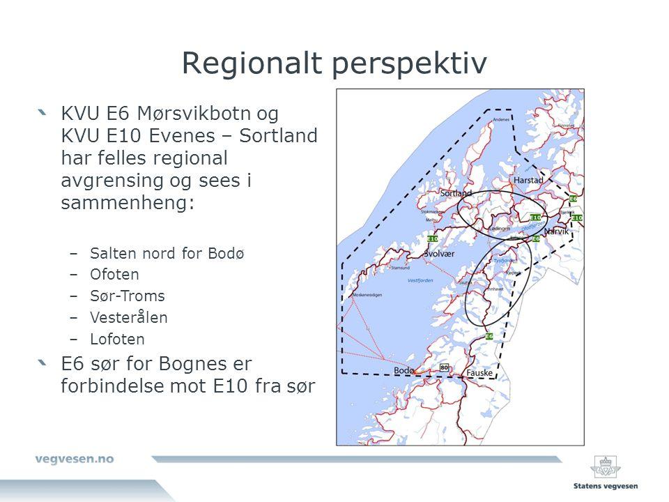 Regionalt perspektiv KVU E6 Mørsvikbotn og KVU E10 Evenes – Sortland har felles regional avgrensing og sees i sammenheng:
