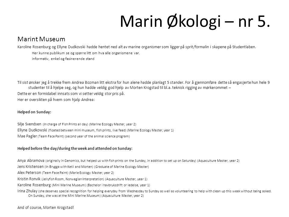 Marin Økologi – nr 5. Marint Museum