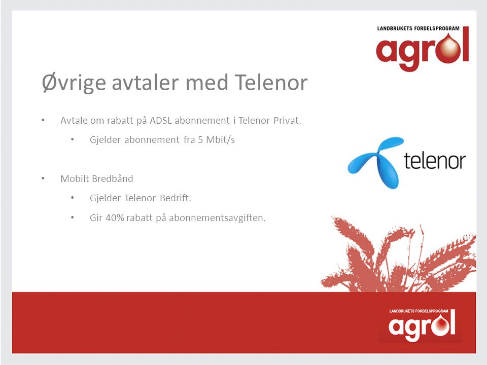 Øvrige avtaler med Telenor