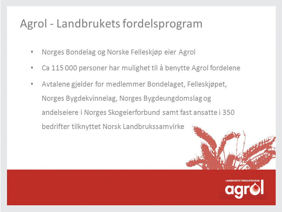 Agrol - Landbrukets fordelsprogram