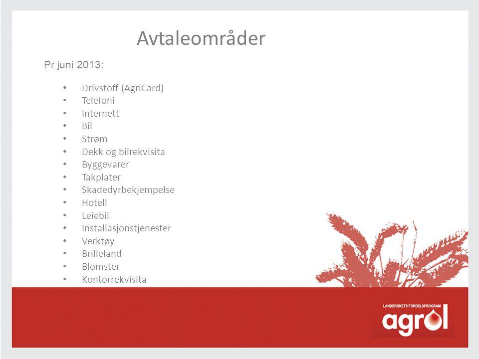 Avtaleområder Pr juni 2013: Drivstoff (AgriCard) Telefoni Internett