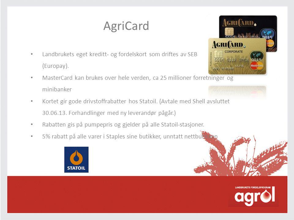 AgriCard Landbrukets eget kreditt- og fordelskort som driftes av SEB (Europay).