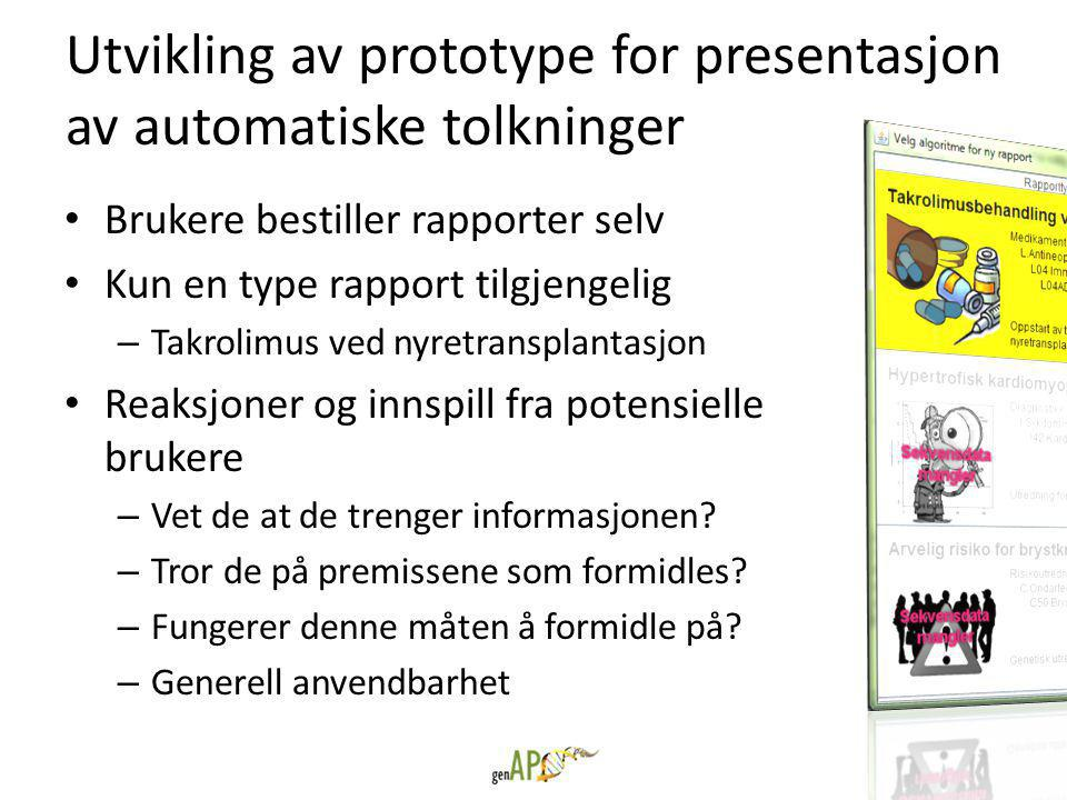 Utvikling av prototype for presentasjon av automatiske tolkninger