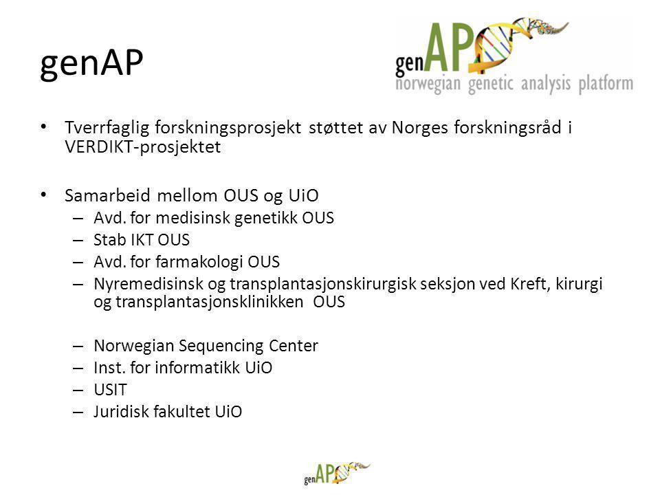 genAP Tverrfaglig forskningsprosjekt støttet av Norges forskningsråd i VERDIKT-prosjektet. Samarbeid mellom OUS og UiO.