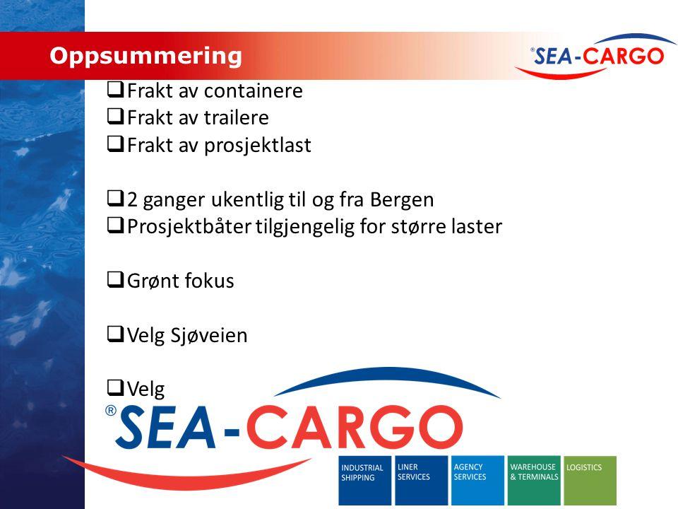 Oppsummering Frakt av containere. Frakt av trailere. Frakt av prosjektlast. 2 ganger ukentlig til og fra Bergen.