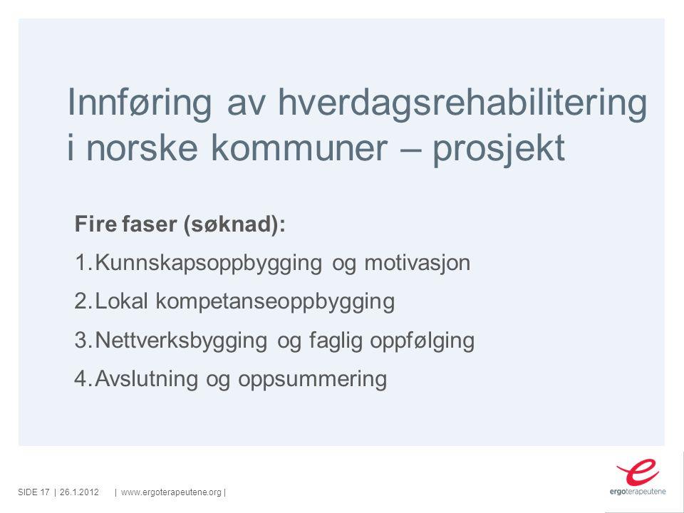 Innføring av hverdagsrehabilitering i norske kommuner – prosjekt