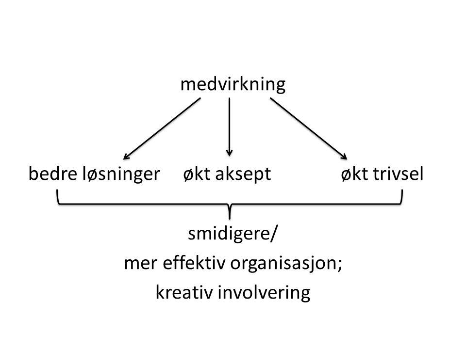 medvirkning bedre løsninger økt aksept økt trivsel smidigere/ mer effektiv organisasjon; kreativ involvering