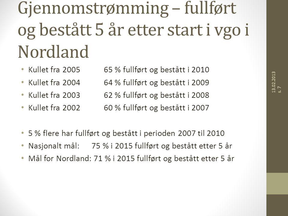 Gjennomstrømming – fullført og bestått 5 år etter start i vgo i Nordland