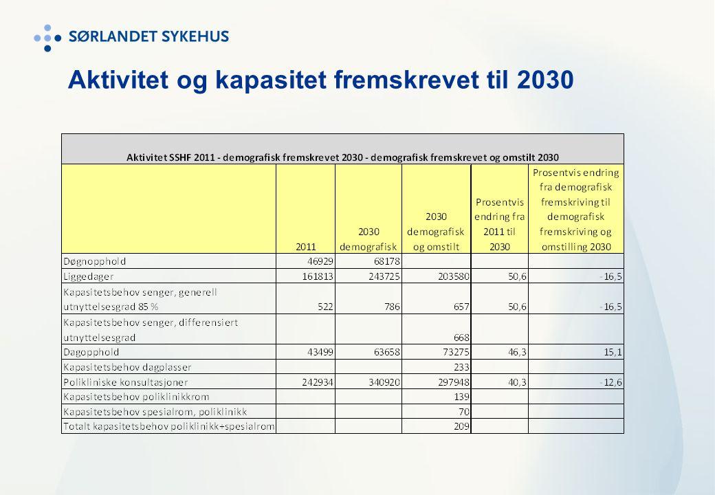 Aktivitet og kapasitet fremskrevet til 2030