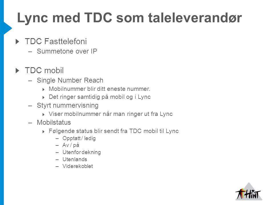 Lync med TDC som taleleverandør